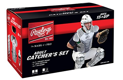 Rawlings Sporting Goods VCSA-W/SIL Adult Catcher Set Velo Series Protective Gear, White/Silver, Age 15+ (Adult Catcher Gear compare prices)