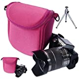 First2savvv pink high quality anti-scratch nylon digital camera bag case for olympus SZ-14 + camera tripod