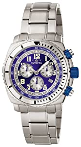 Mens Watch Invicta 617 Stainless Steel Quartz Chronograph Blue Dial