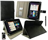 Emartbuy® Black Stylus + Universal Range ( 8 - 9 Inch ) Black Multi Angle Executive Folio Wallet Case Cover With Card Slots Suitable for Argos Bush MyTablet2 8 Inch