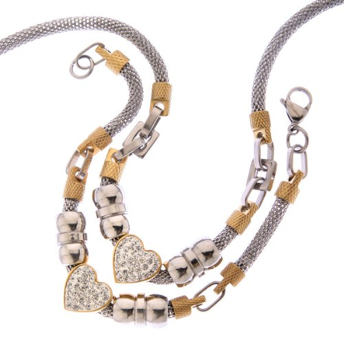 Two Tone Heart Clear Crystal Mesh Designer Style Necklace and Bracelet Set