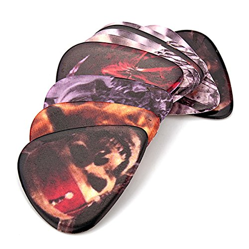 10 X Electric Guitar Pick With Skull Monster Celluloid