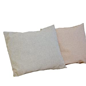 "Certified Organic Toddler Pillow 12x16"" (Gingham Pattern Sage)"