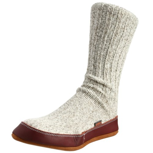 ACORN Unisex Slipper Sock, Grey Ragg Wool, L