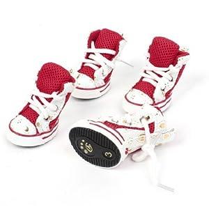 """pares blancos rojos suela de goma corazones 2,6 """"Zapatos de alta Pet"""