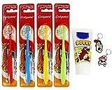 Colgate by COM-FOUR® 4er Set bunte Kinder-Handzahnbürste Extra Soft inklusive