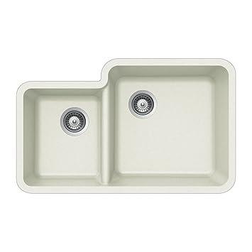 Houzer S-175U CLOUD Quartztone Series Granite Undermount 70/30 Double Bowl Kitchen Sink, White