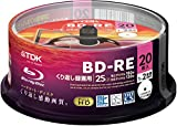 TDK 録画用ブルーレイディスク BD-RE 25GB 1-2倍速 ホワイトワイドプリンタブル 20枚スピンドル BEV25PWA20PA