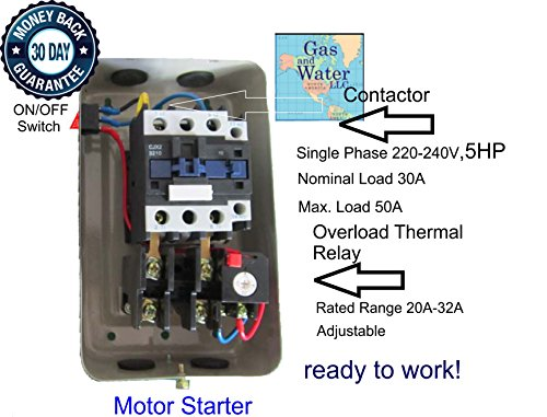 Magnetic Electric Motor Starter Control 5 HP Single Phase 220/240V 20-32A + on/off switch from Gas and Water