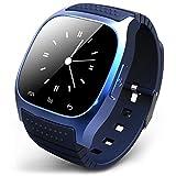 bluetooth 腕時計 ブルートゥースウォッチ スマートウォッチ ハンズフリー通話、時刻表示、置き忘れ通知、着信知らせ、温度計、距離測定 男女兼用腕時計 ブルー