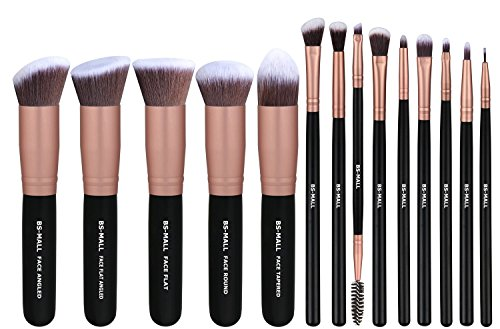 BS-MALL(TM) Premium 14 Pcs Synthetic Foundation Powder Concealers Eye Shadows Silver Black Makeup Brush Sets(Rose Golden) (Silver Makeup Brush Set compare prices)