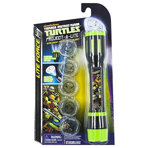 Teenage Mutant Ninja Turtles - TMNT - Project-A-Lite - Ultra Bright Character Projector LED Flash Light - 6 SIX Different TMNT Images project out of LED Night Light Lantern Lamp - 1