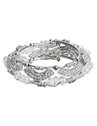 Faux Cubic Zirconia Studded Cuff Bracelet - Metal - B00MVYP8UK