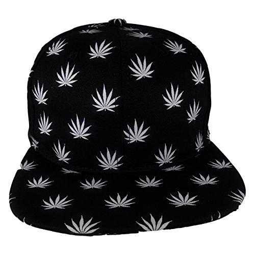 Cap2Shoes-Mens-Marijuana-Weed-Leaf-Snapback-One-Size-Black