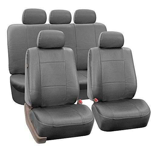FH Group PU002SOLIDGRAY115 Gray Faux Leather Split Bench Auto Seat Cover (Full Set Airbags Compatible and Split Bench Cover) (Faux Leather Auto Seat Covers compare prices)
