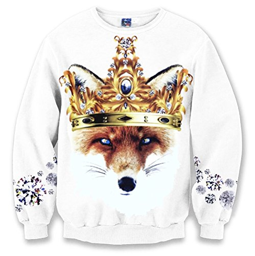 Pizoff Unisex Hip Hop 3D Digital Printing White fox crown diamond SweatShirts Y1627-14-L