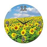 MeSleep Yellow Flower Wall Clock With Glass Top