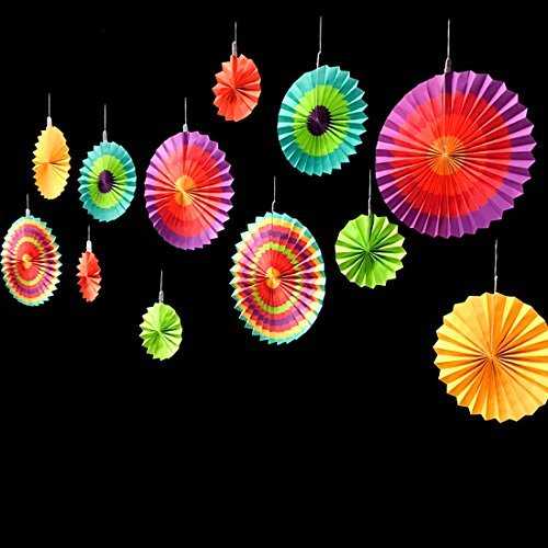 Adorox Set of 6 Vibrant Bright Colors Hanging Paper Fans Rosettes Party Decoration 8