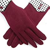 Womens Small Squares Mirco Velvet Warm Touch Screen Gloves for Outdoor Cycling Cold-Proof (Red)