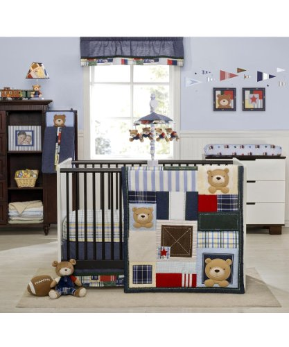"Kids Line ""Oxford Bear"" 4-Piece Crib Bedding Set - blue/green, one size - 1"