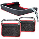 Car Seat Kids Travel Tray With Stiffened Play Surface for Snacks Car Bus Plane and Train Journeys Two Headrest Pockets