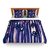 "Kess InHouse Ebi Emporium ""Winter Garden in Violet"" Purple King Fleece Duvet Cover, 104 by 88-Inch"