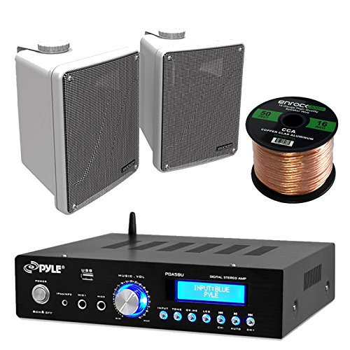Amp And Speaker Combo Packge: Pyle PDA5BU Bluetooth Radio USB AUX Amplifier Stereo Receiver Bundle With 2x Kicker KB6000W 6.5