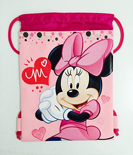 Disney Minnie Mouse Drawstring Backpack - Pink Drawstring Bag - 1
