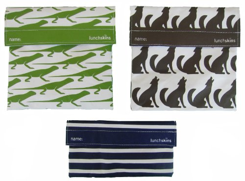 LunchSkins Reusable Sandwich and Snack Bags Set - 3 Pack - Green Lizard, Brown Wolf, Navy Stripes