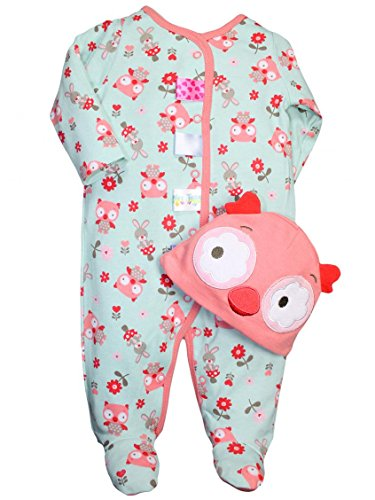 Taggies Owl Print Baby Girls Sleep N Play Footie And Owl Hat Set By Taggies - Green - 3 Mths / 8-12 Lbs front-63146