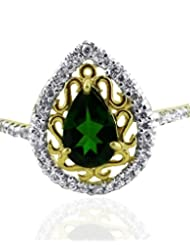JewelryKarigiri White Russian Chrome Di Opside With CZ Ring For Women