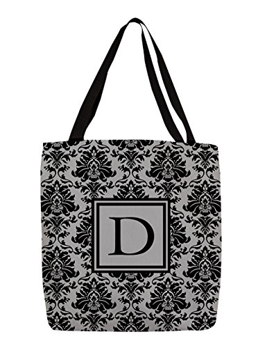 Thumbprintz Shopping Tote Bag, 13-Inch, Monogrammed Letter D, Black And Grey Damask front-236419