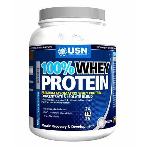 USN 100% Whey Protein 908 g Chocolate Muscle Development and Recovery Shake Powder