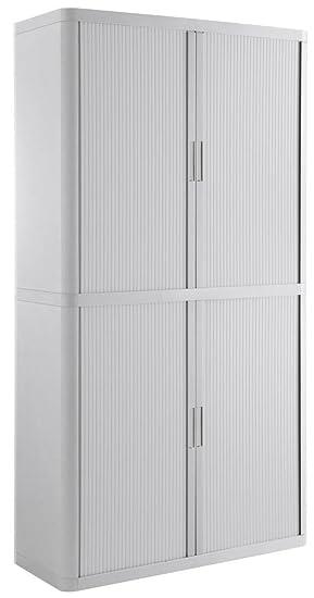 Armoire fast-paperflow structure acier et en polyester avec 4portes coulissantes colorblanco 2040x 1100x 415mm
