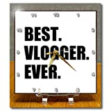 dc_179783_1 InspirationzStore Typography - most readily useful Vlogger Ever fun work pride gift for worlds greatest vlogging work - Desk Clocks - 6x6 Desk Clock
