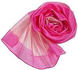 Wander Agio Women's Fashion Shade Large Shawl 55% Silk Scarf Color Matching Rose Red