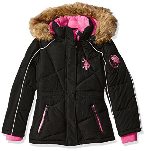 us-polo-assn-girls-little-girls-bubble-jacket-with-faux-fur-trimmed-hood-black-fuchsia-zipper-pocket