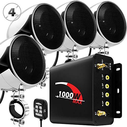 "GoHawk TN4-Q 1000W 4 Channel Amplifier 4"" Full Range Waterproof Bluetooth Motorcycle Stereo Speakers Audio System AUX USB SD Radio for 1-1.5"" Handlebar Harley Touring Cruiser ATV"