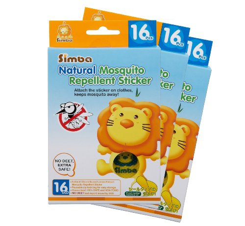 Simba Natural Mosquito Repellent Sticker (16pcs) with Citronella and Lemon Extract/ No DEET, Extra Safe! (3 PCs)