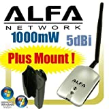 Alfa AWUS036H 1000mW 1W 802.11b/g USB Wireless WiFi Network Adapter with Antenna and Suction Cup Window Mount Dockby Alfa