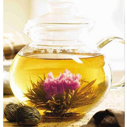 40 Oz Clear Glass Tea Pot W/ 12 Tea Flowers With Jasmine Flavor