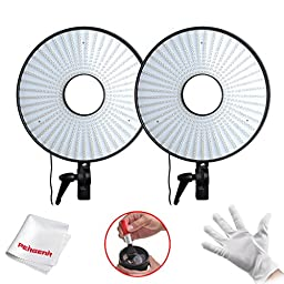 FalconEye ® 2 Sets 630 5500K~6000K Adjustable Photography Led Video ring light with Camera Bracket