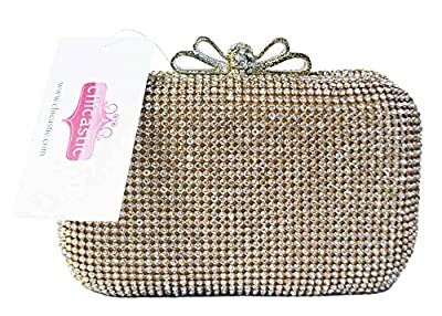 Chicastic Crystal Bow Closure Clutch Purse Cocktail Bag with Rhinestone Crystals