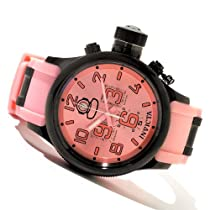Invicta Mens Russian Diver Swiss Chronograph Black IP Stainless Steel Case Pink Watch 11890