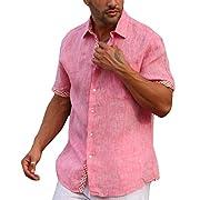 Modern lined short sleeve linen shirt.