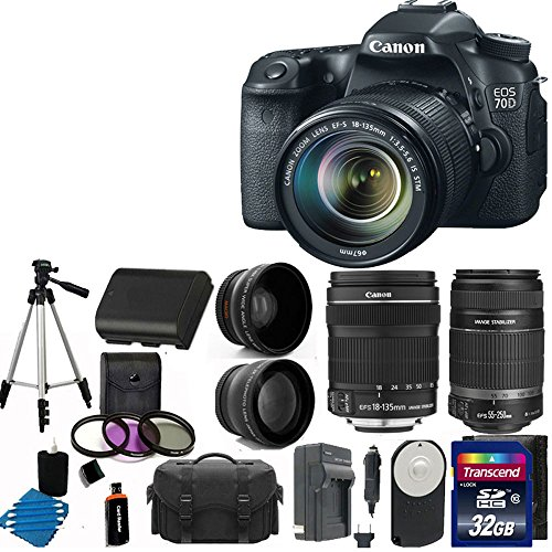 Canon Eos 70D 20.2 Mp Digital Slr Camera With Dual Pixel Cmos Af Full Hd 1080P Video With Movie And Canon Ef-S 18-135Mm F/3.5-5.6 Is Stm With Canon Ef-S 55-250Mm F/4-5.6 Is Image Stabilizer Telephoto Zoom Lens + 58Mm 2X Professional Lens + High Definition
