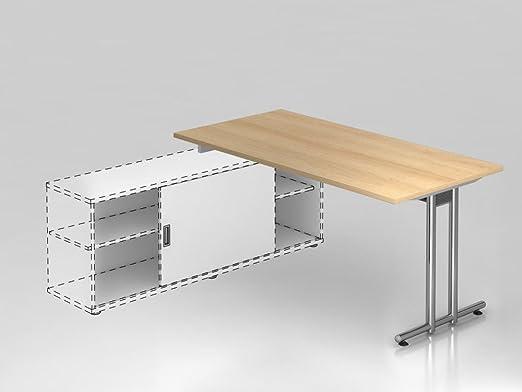 Coltivazione scrivania piede a T, 160x 80cm, rovere/cromato