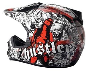 Rockhard Hustler Dirt MX Helmet (Black/White/Red, Small)