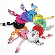 DIBOONS® 10 Pcs 10 Colors Colorful 1m 3ft Long Flat USB Data Sync Charging Cable Cord for Iphone 5…