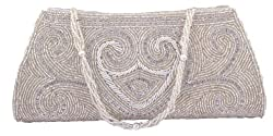 Freddys Silver Coloured Clutch With Bead Work